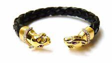New Designer Fashion Italian leather Panther Leopard Bangle Bracelet 14K Gold SS