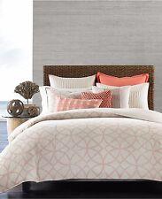 Hotel Collection Textured Lattice 100% Linen Full/Queen Duvet Cover Poppy B214