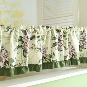 Green Floral Short Curtains Cabinet Door Kitchen Small Window Blackout Drapes