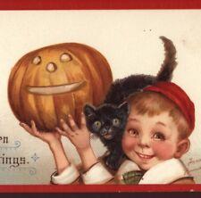HALLOWEEN..CUTE BOY IN BEANIE HAT PROUD OF HIS JOL,CAT,BRUNDAGE,VINTAGE POSTCARD