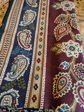 VINTAGE DAN RIVER 2 STANDARD PILLOW SHAMS PAISLEY FLORAL BURGUNDY GREEN NAVY BLU