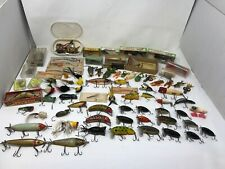 HUGE VINTAGE FISHING FLY LURES JITTERBUGS ARBOGAST TREAS ORENO CREEK CHUB HEDDON