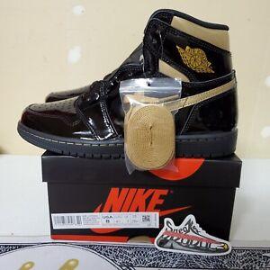 FREE SHIPPING Air Jordan 1 Retro High Black Metallic Gold 2020 555088-032 Men's