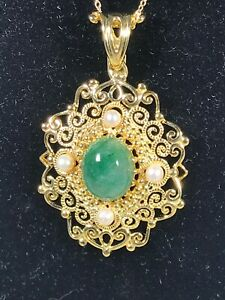 "Emerald & FW Pearl Pendant w/18"" Chain - SS/18K YG Plate"