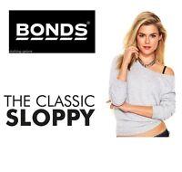 BONDS WOMENS GREY SLOPPY JOE Jumper Pullover Sweater Top Tracksuit Activewear