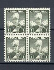 Greenland 1938 Sc# 1 Christian Denmark colony block 4 MNH