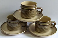 Denby Sonnet - Brown / Beige / Cream Design - 3 x Cups and 3 x Saucers - Plse Rd