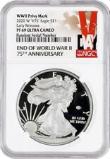 2020 W End Of WWII 75TH V75 Proof Silver American Eagle NGC PF69 ER LIVE IN HAND