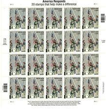 America Responds: 9/11 Heroes Sheet of Twenty 45 Cent Postage Stamps Scott B2