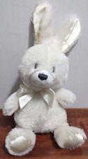 "Gund Cream 9"" Plush Bunny With Rattle Baby Toy Lovey Cream Ribbon Tie EUC"