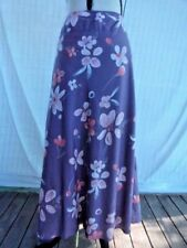 Purpley floral Sz 10 mid-shin length lined skirt, zip rear, slight sheen, VGC
