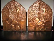 Antique Vintage Arts & Crafts Copper & Mahogany  Book & Candle Folk Art Bookends