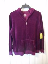 Women's Made For Life Velour Hoodie Full Zip Jacket Large Wine Color NEW