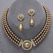 Golden pearl jewellery faux pearl diamante necklace set PROMS 0365