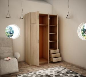 Wiktoria 3 door 3 drawer 3 cupboard wardrobe - Light Oak