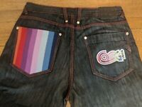 Coogi Jeans Mens 36 x 34 Dark Wash Multi Colored Rainbow Embroidered Stitching