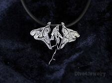 Solid 925 Sterling Silver Manta Ray Shark Sealife Nautical Pendant Necklace AUST