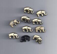 10 piezas botones de metal de dos orificios en forma de elefante bronce Tono De Costura Álbum de recortes (100)