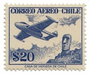 Chile 1955 #572 Jet Plane and Moai Statue Easter Island MNH
