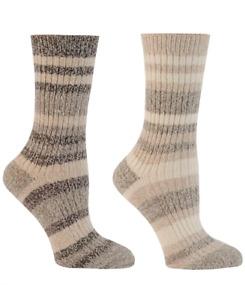 Columbia Women's 2-Pk. Striped Crew Socks Khaki/Brown