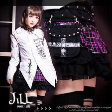 Punk Kera Avril rivet Buckle Belt waist bag tartan Tiered Mini Skirt PU FA189