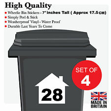4 X WHEELIE BIN NUMBERS CUSTOM HOUSE NUMBER VINYL GRAPHIC STICKERS DECAL