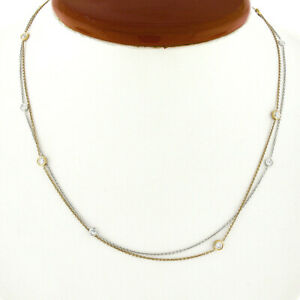 """18K TT Gold 1ct Bezel Diamond by the Yard 16"""" Layered Dual Strand Chain Necklace"""
