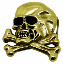 Skull Belt Buckle Crossed Bones Skeleton Solid Brass Authentic Baron Buckles