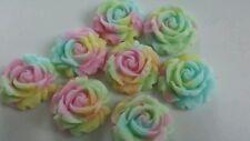 Comestibles Azúcar Rosas en un arco iris de colores (12 por juego) Unicornio Cake Toppers