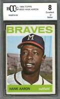 Hank Aaron Card 1964 Topps #300 Milwaukee Braves BGS BCCG 8