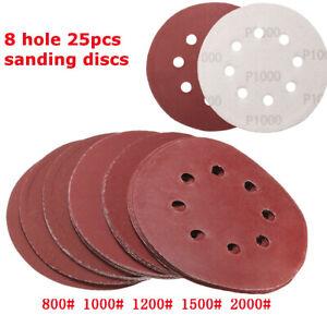 "125mm 5"" Sanding Discs Pad 800-2000 Grits Mix Orbital Sander Hook Loo"