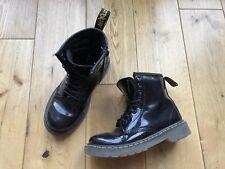 Dr Martens Delaney 8 Eyelet Black Patent Leather Boots Boys Size 11
