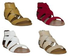 Chix Elastic Cross Over Peep Toe Summer Sandal in Red, Gold, White and Silver