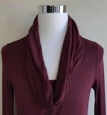 Soft Surroundings Women's Cowl Neck Sweater M Medium Solid Maroon Long Sleeve