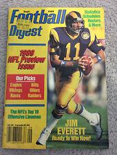 NFL FOOTBALL DIGEST Magazine Jim Everett Sept 1989 Gridiron NFL Preview Issue