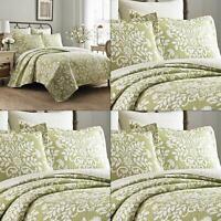 rowland 3-piece green full/queen quilt set | laura ashley sage cotton bedspread