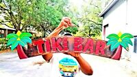 """Vibrant 39"""" Handcarved and Painted Wood Tiki Bar with Palm Trees Wall Decor Sign"""