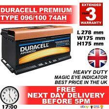 Type 100 Car Battery 660CCA OEM Replacement Duracell Advanced 12V 72Ah Sealed