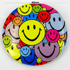 """Smiley Face Multi Coloured  45mm 1¾"""" Pin Badge Button Shop worker x 10 pcs"""