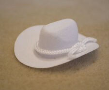 White COWBOY HAT for (SOME) 1:9 & 1:12 Model Scale Doll Riders WITH SMALL HEADS