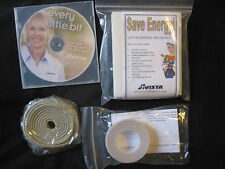 Energy Savings Kit - Rope Caulk, V Type Weather Stripping, Draft Stoppers, CD