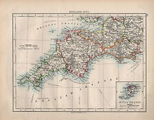 1899 VICTORIAN MAP ~ ENGLAND SOUTH WEST ~ INSET SCILLY ISLANDS CORNWALL DEVON