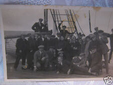 """old photo people aboard sailing ship 5""""x3"""" with wood life boat"""