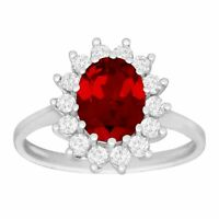 2 7/8 ct Created Ruby & White Sapphire Ring in 10K White Gold