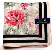 POLO Ralph Lauren Handkerchief hanky scarf bandana Beige Flower Auth New