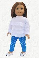 Doll Clothes Ruffled Shirt and Aqua Dot Leggings made for 18 inch American Girl