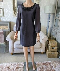 Boden 12R Ladies Tunic Dress Silk Blend Metallic Grey/Blue Embellished Neck