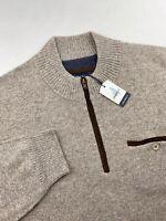 Johnnie-O Vernon Merino Wool Quarter Zip Pullover Sweater Brown Mens 2XL $195