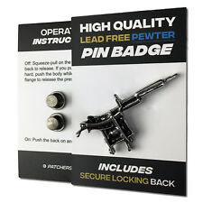 Tattoo Gun High Quality Pewter Pin Badge with Secure Locking Backs