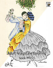 Adult Coloring Book (24 pages) Vintage Fashion Xavier Sager FLONZ grayscale 053